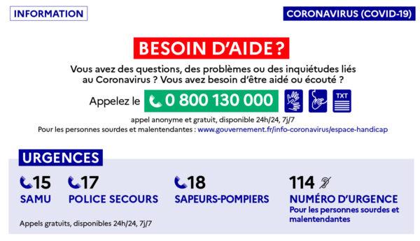 Besoin d'aide ? Téléchargez le guide COVID-19 avec les numéros d'urgence