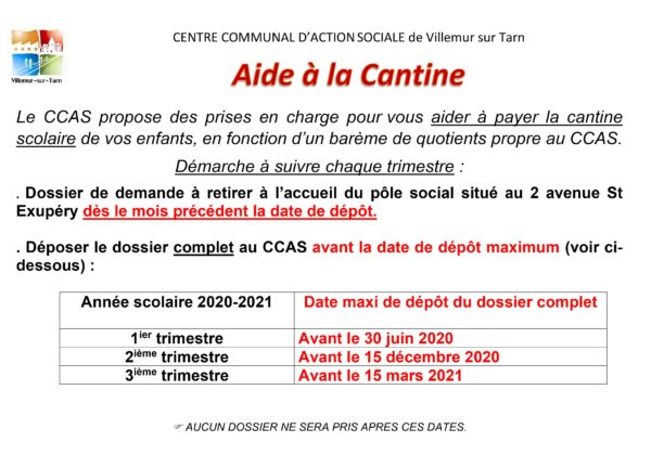 Aides du CCAS pour payer la cantine : dossier à déposer avant le 30 juin