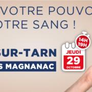 Don de sang jeudi 29 octobre à Magnanac