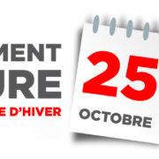 PASSAGE À L'HEURE D'HIVER – 25 octobre 2020