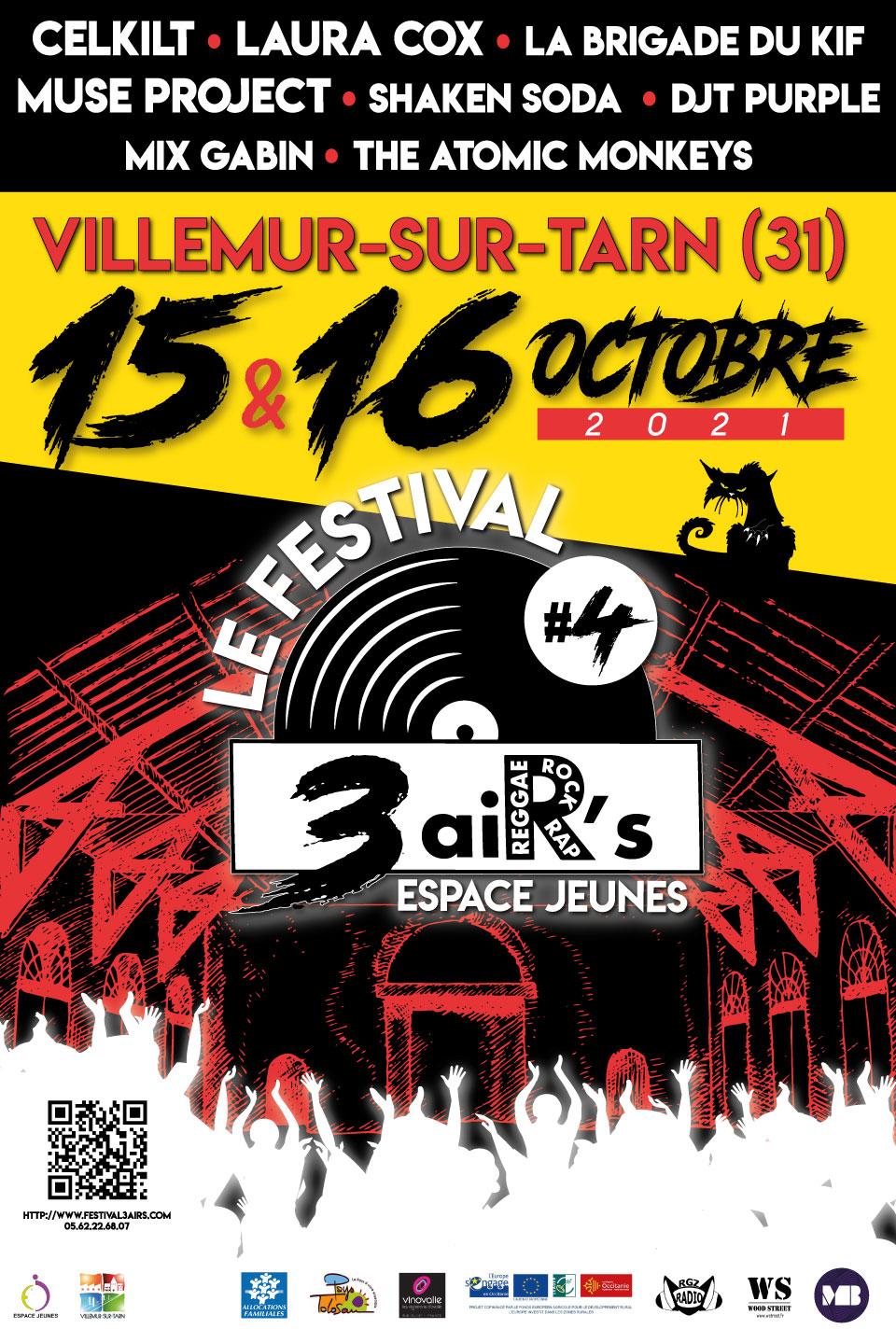 Festival 3 aiR's :  4ème édition sous la Halle Brusson  les 15 et 16 octobre 2021
