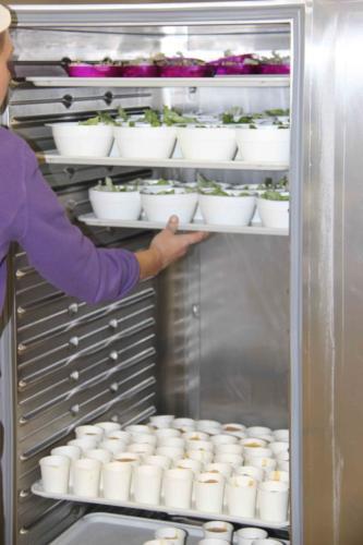 Les salades et compotes sont entreposées au frigo en attendant le service.